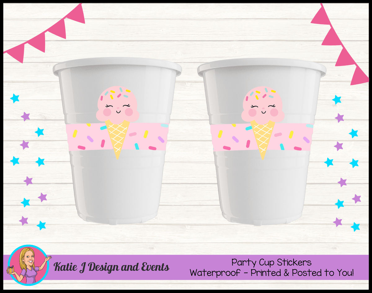 Personalised Girls Ice Cream Party Cup Stickers Cups