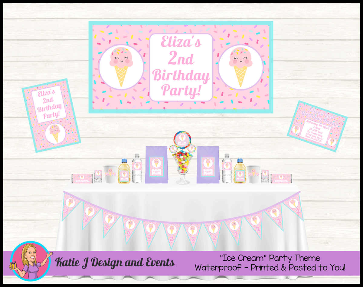 Personalised Girls Ice Cream Party Packs Decorations Supplies