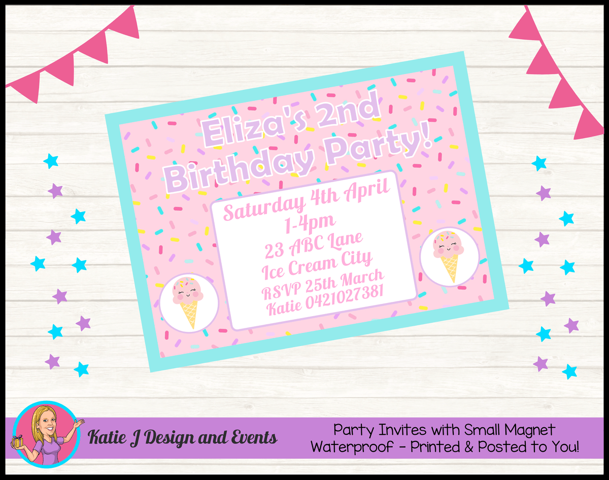 Personalised Girls Ice Cream Birthday Party Invites Invitations