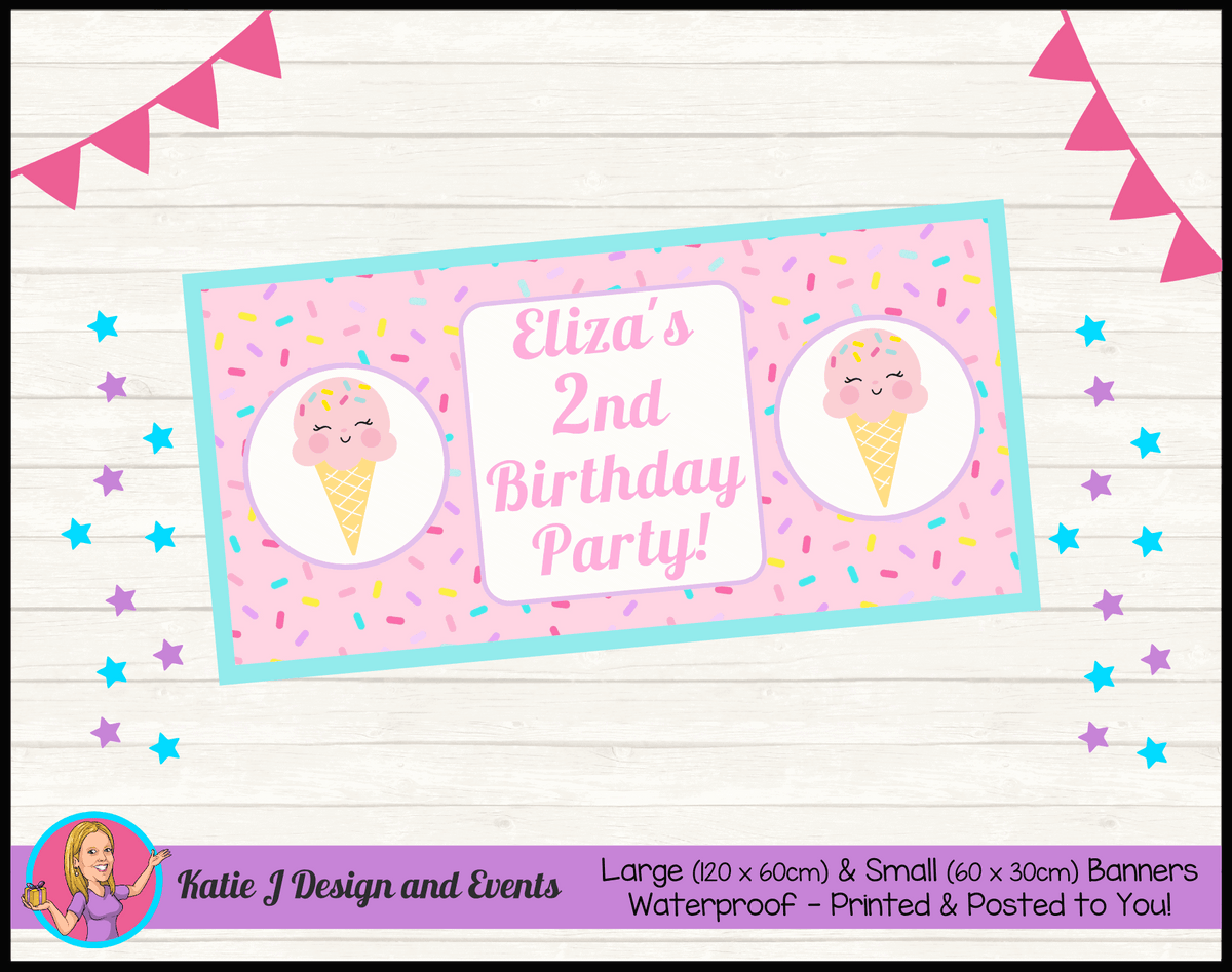 Personalised Girls Ice Cream Birthday Party Banner