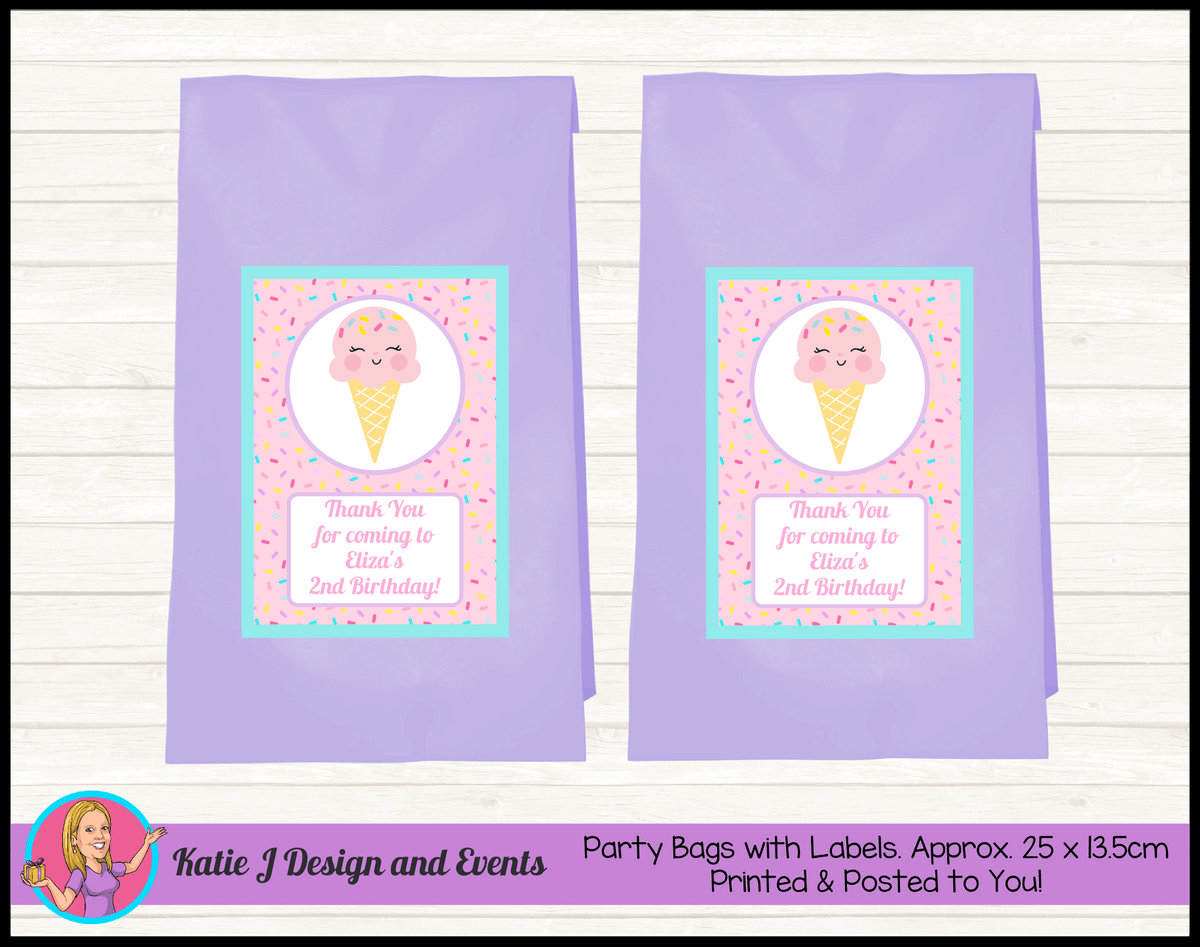 Personalised Girls Ice Cream Birthday Party Loot Bags