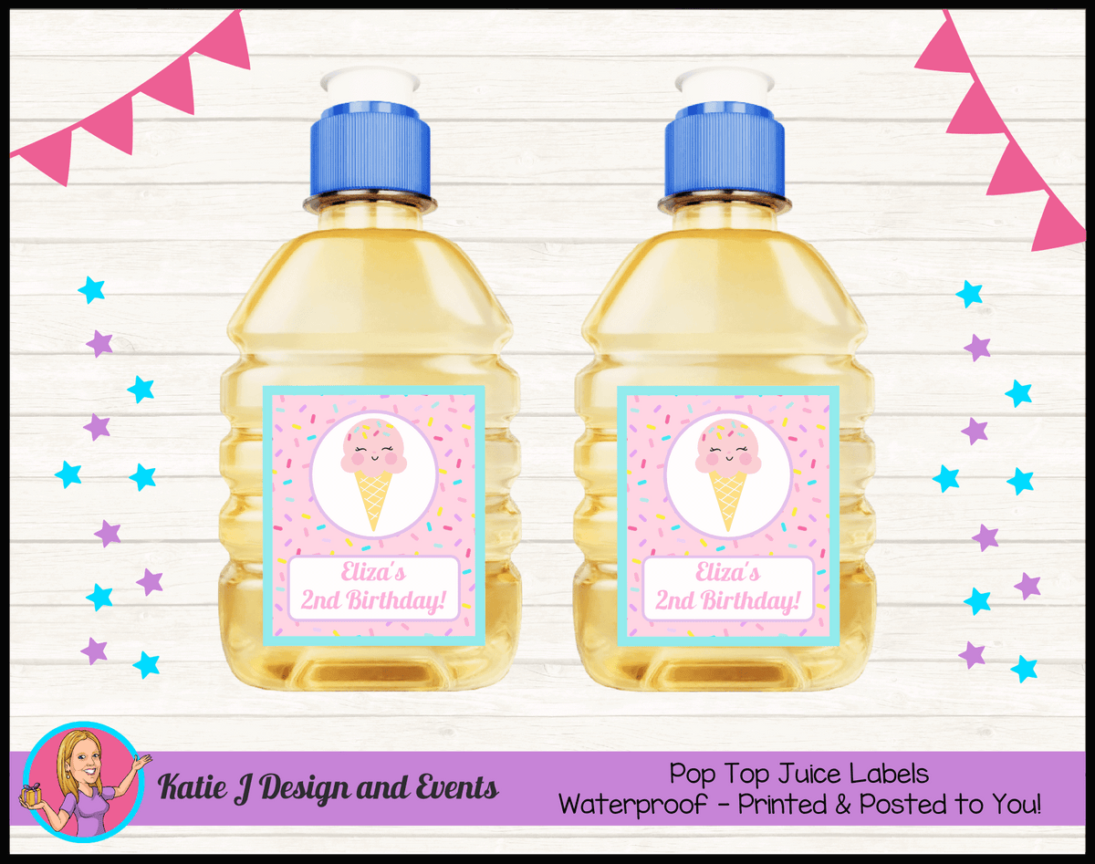 Personalised Girls Ice Cream Party Pop Top Juice Labels