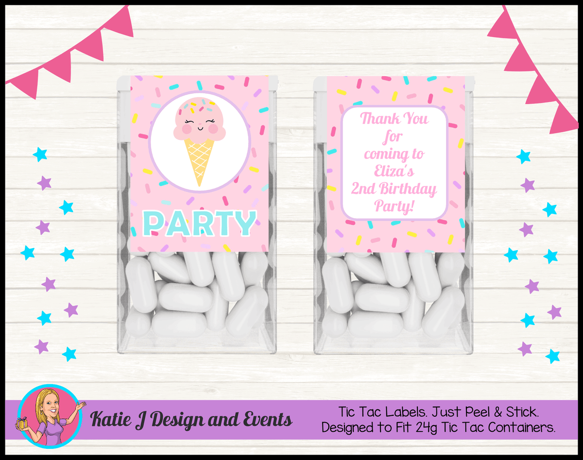 Personalised Girls Ice Cream Party Tic Tac Mint Labels