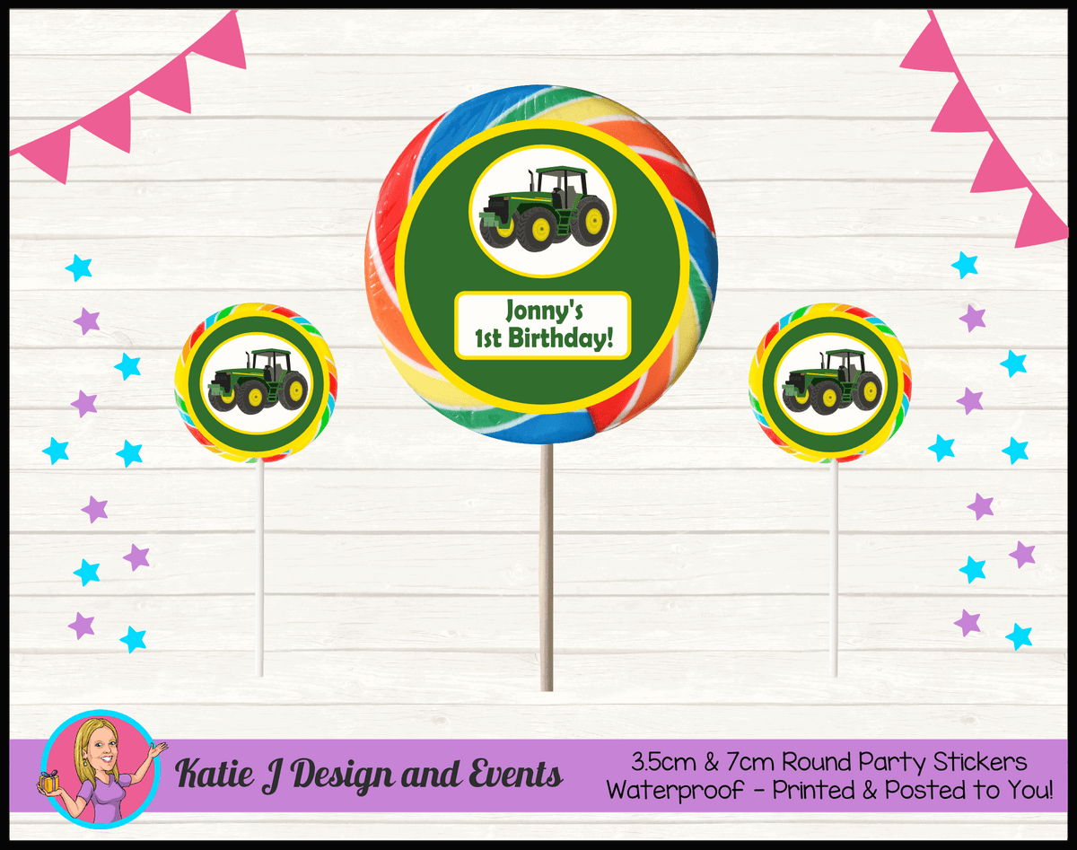 Personalised John Deere Party Round Lollipop Stickers