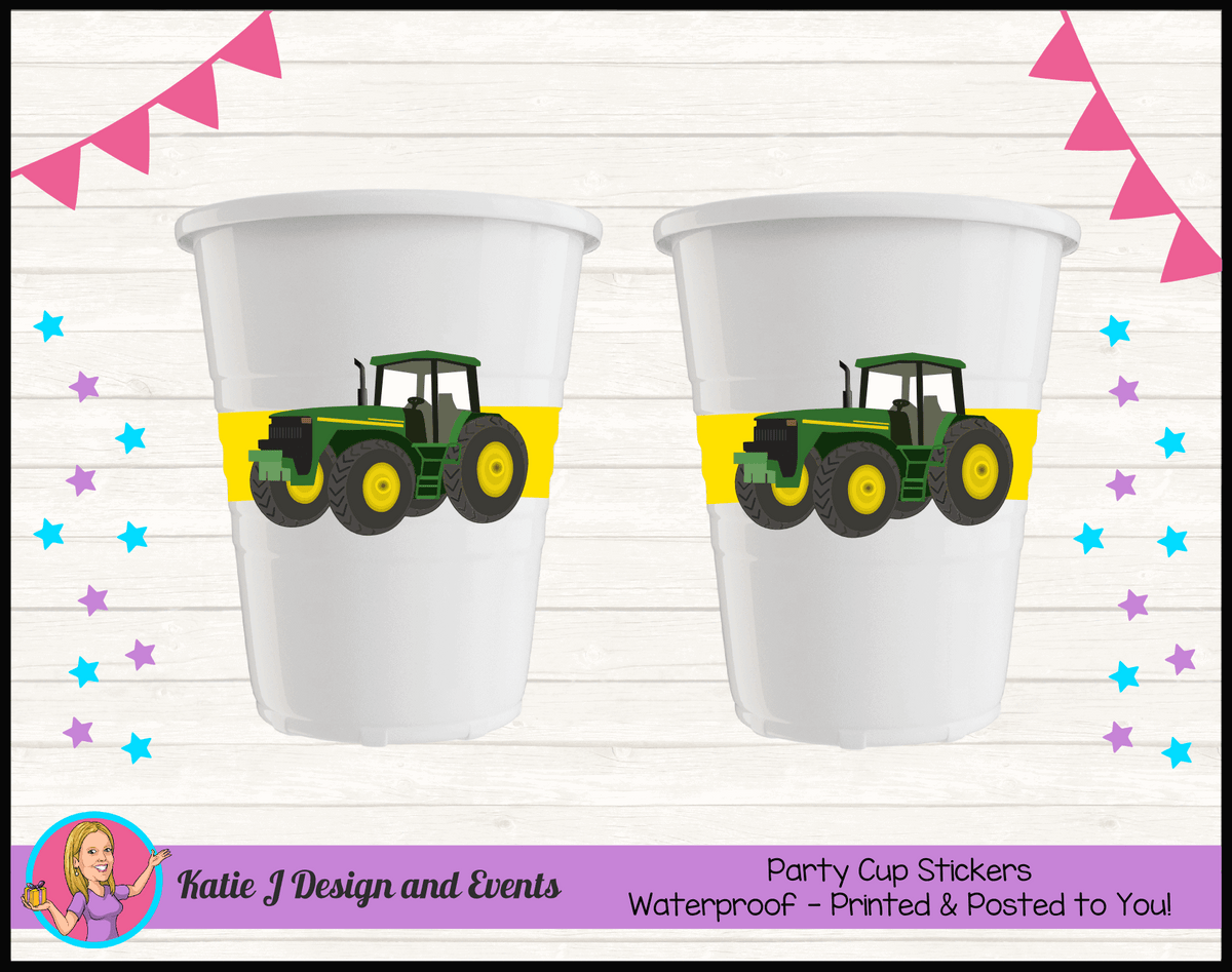 Personalised John Deere Party Cup Stickers Cups