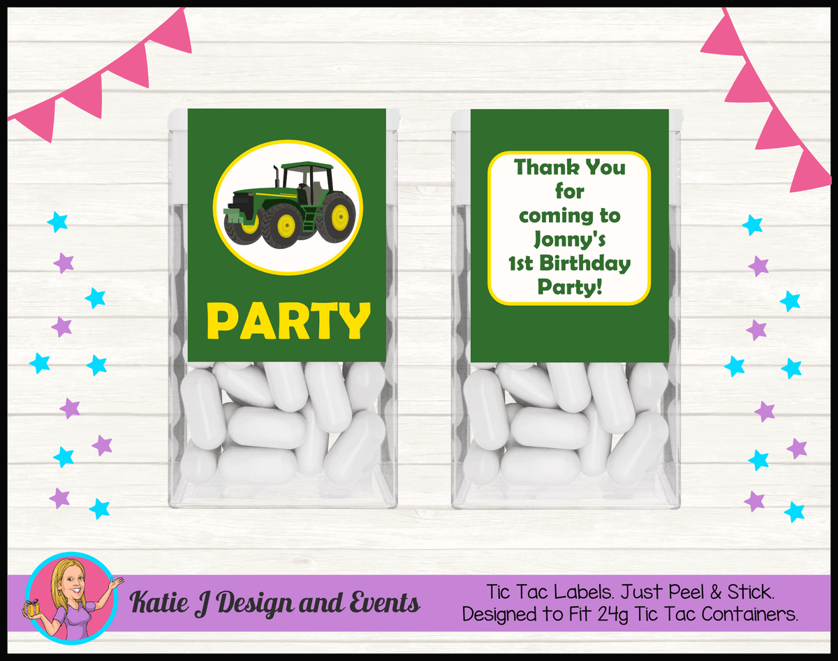 Personalised John Deere Party Mint Tic Tac Labels