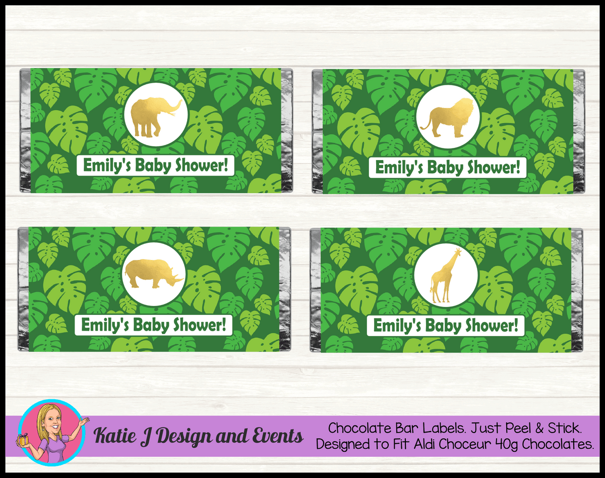 Green Gold Jungle Personalised Baby Shower Aldi Mini Chocolate Wrappers Labels