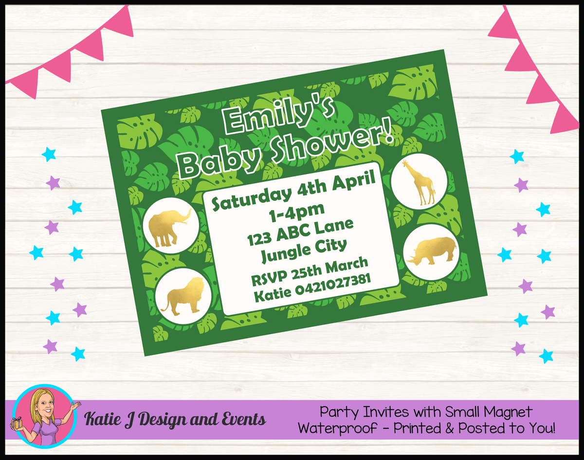 Green Gold Jungle Personalised Baby Shower Invites Invitations