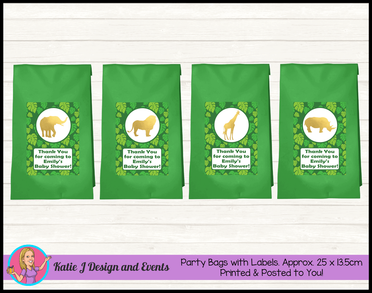 Green Gold Jungle Personalised Baby Shower Favour Party Loot Bags