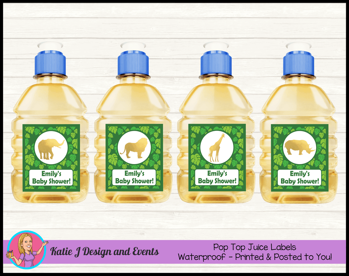 Green Gold Jungle Personalised Baby Shower Pop Top Juice Labels