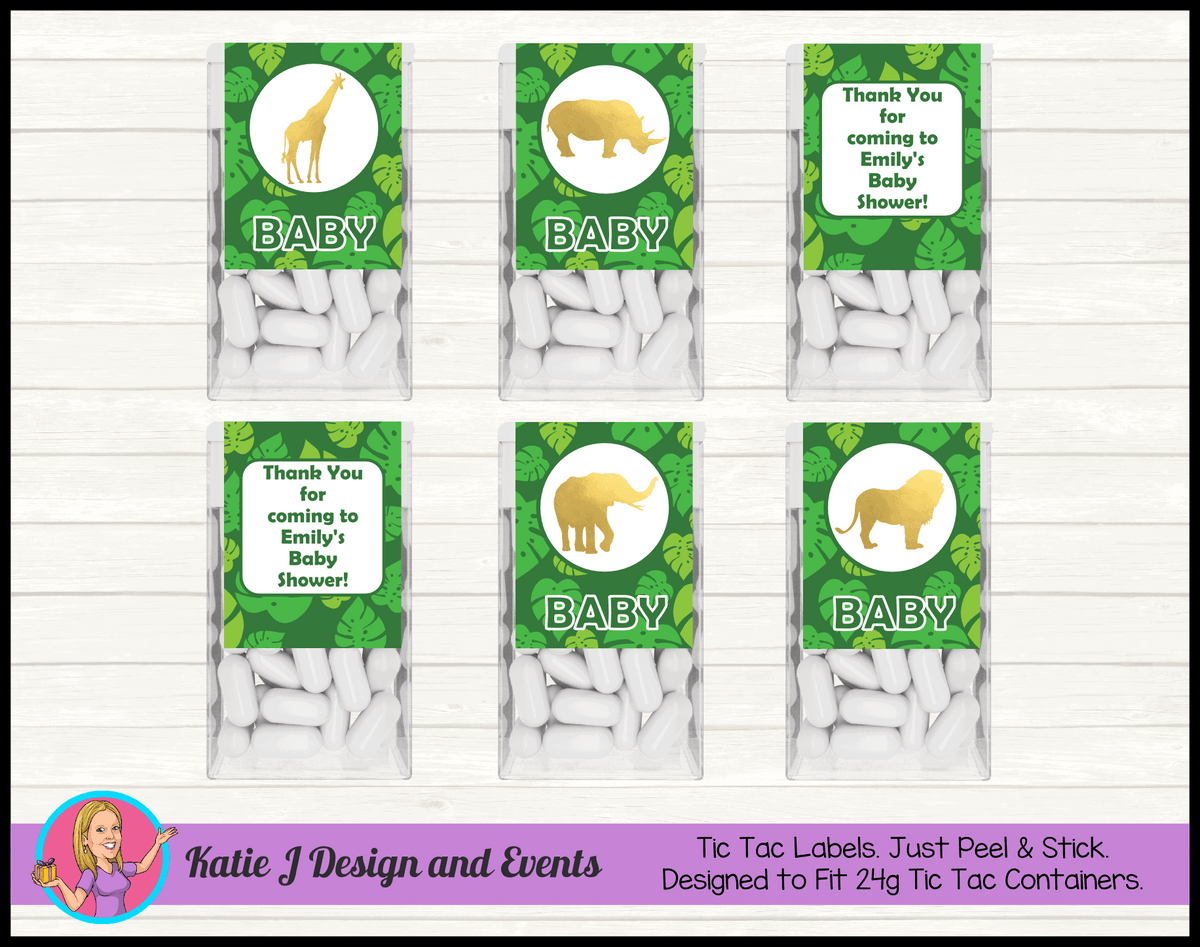Green Gold Jungle Personalised Baby Shower Tic Tac Mint Labels