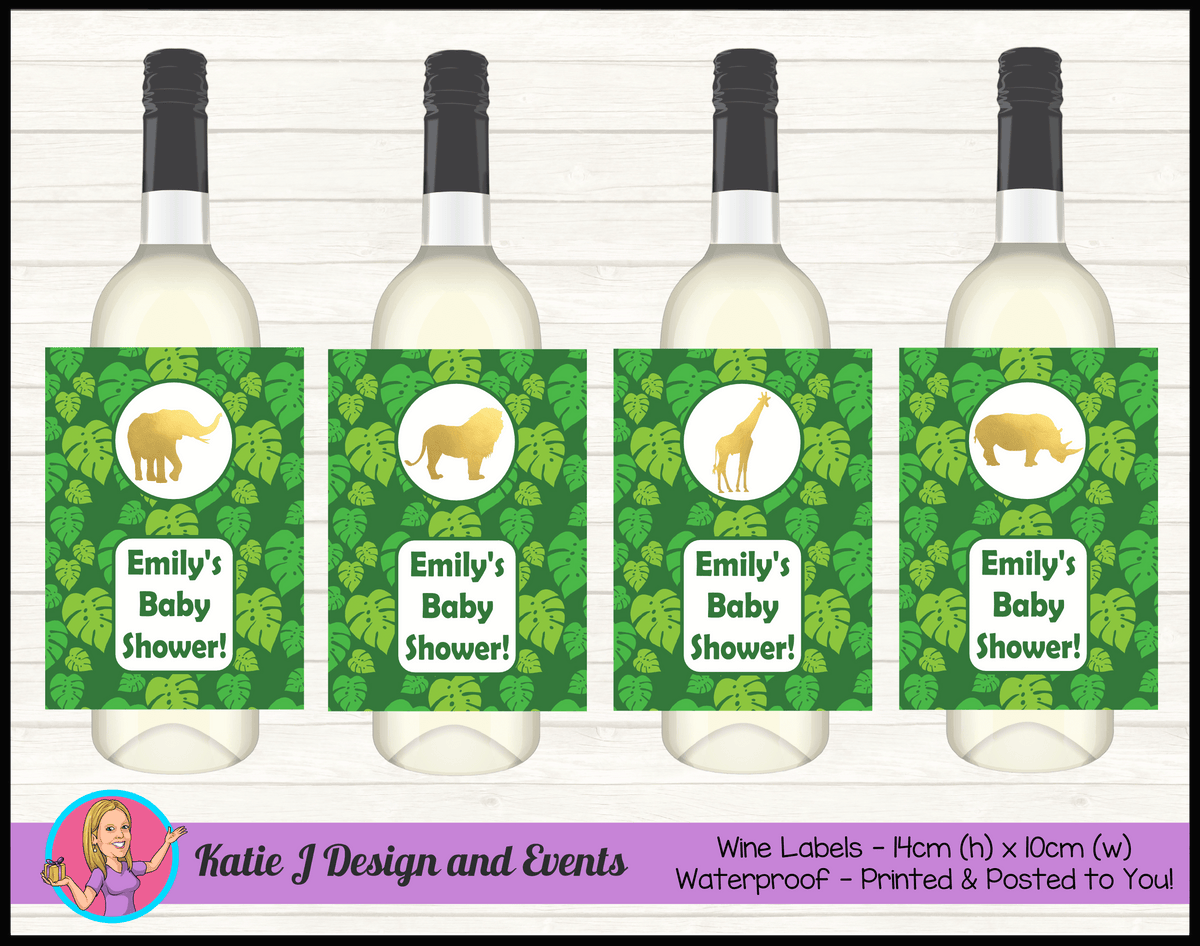 Green Gold Jungle Personalised Baby Shower Wine Labels