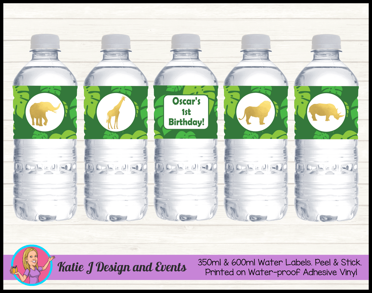 Personalised Gold Foil Jungle Animals Water Labels