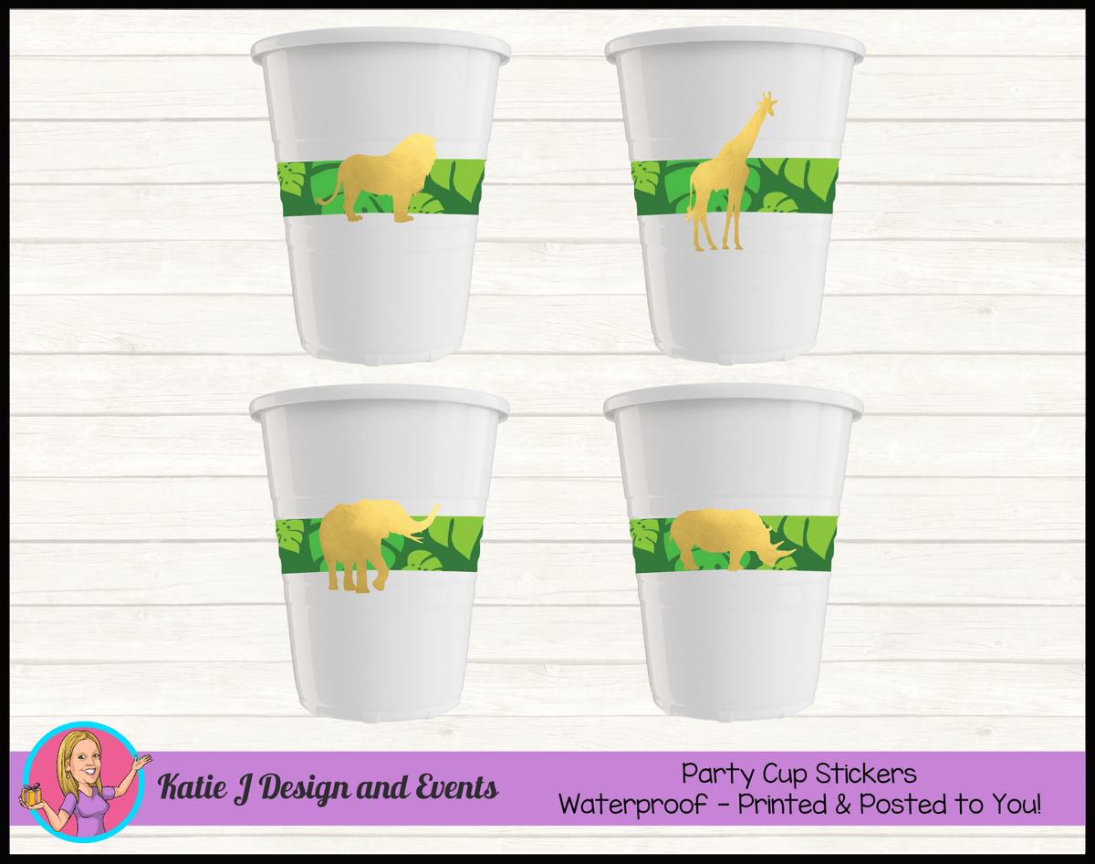Personalised Gold Foil Jungle Animals Party Cup Stickers Cups
