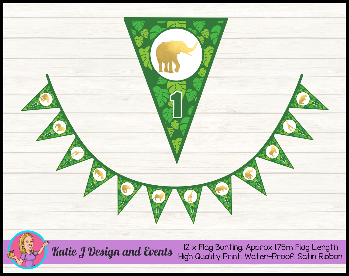 Personalised Gold Foil Jungle Animals Birthday Party Bunting