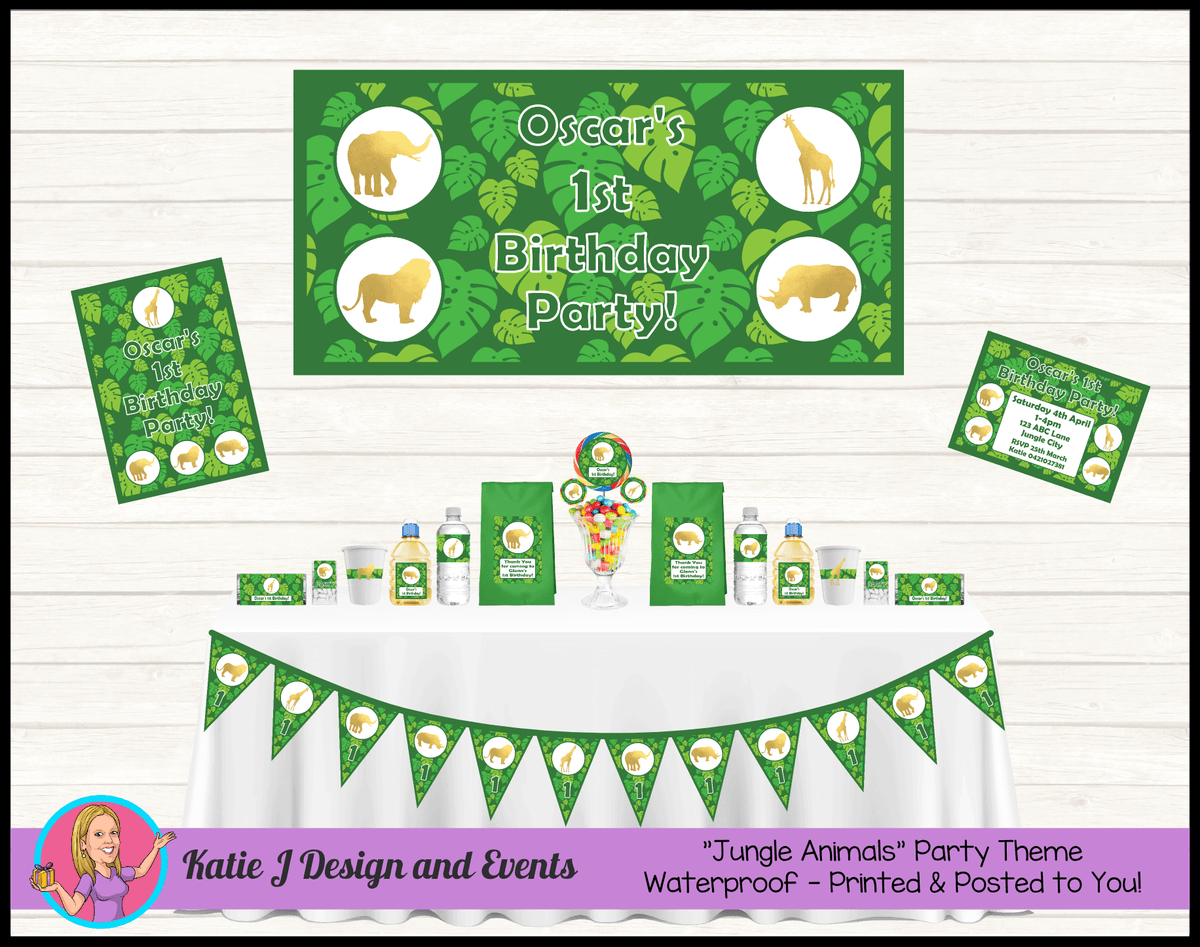 Personalised Gold Foil Jungle Party Packs Decorations Supplies