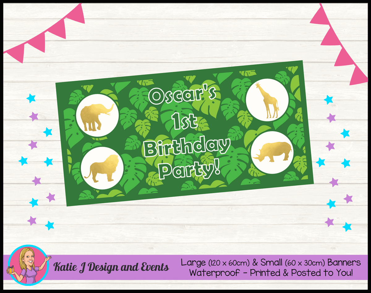 Personalised Gold Foil Jungle Animals Birthday Party Banner