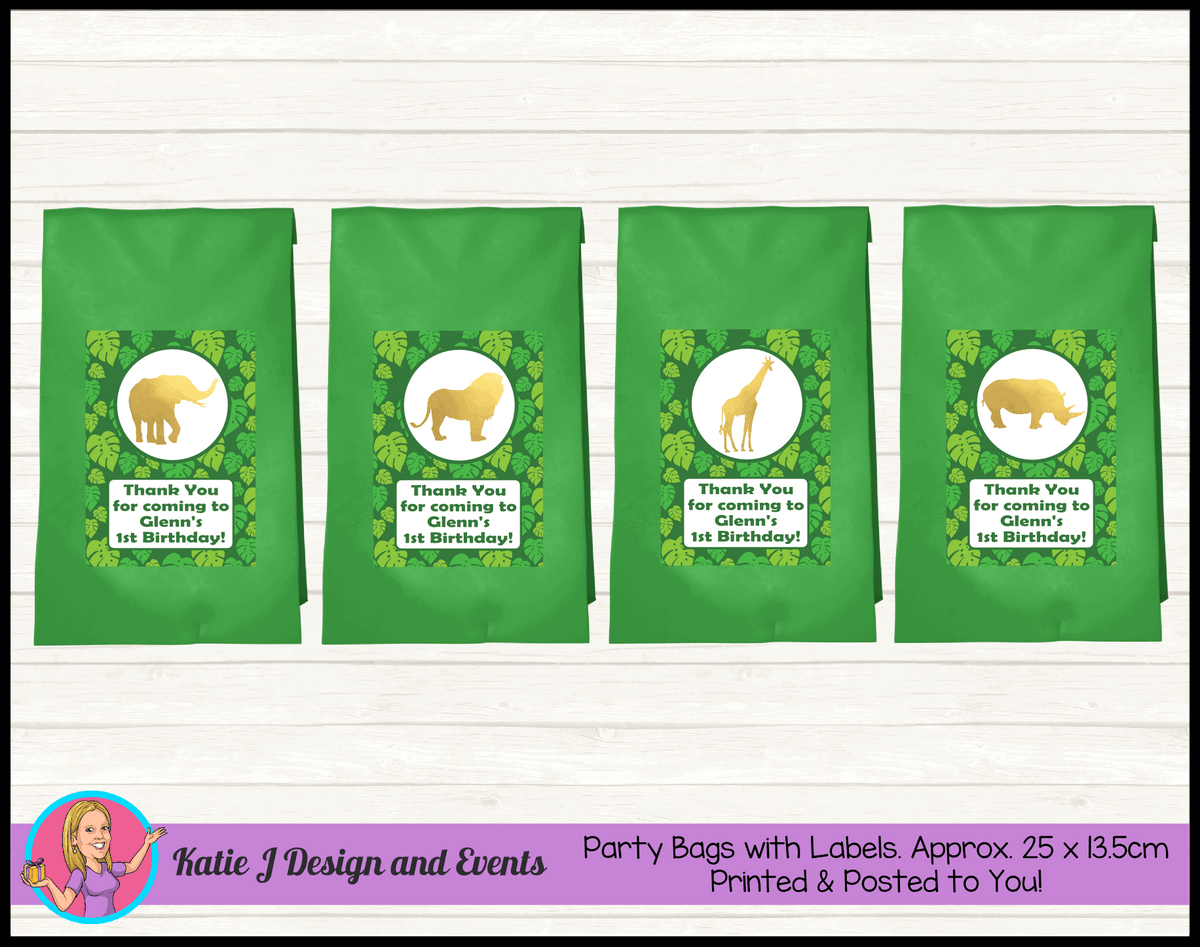 Personalised Gold Foil Jungle Animals Birthday Party Loot Bags