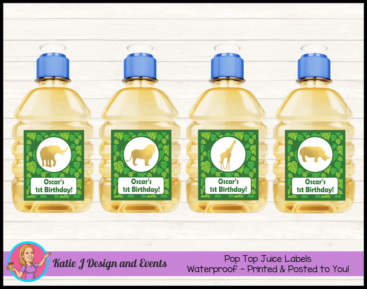 Personalised Gold Foil Jungle Animals Pop Top Juice Labels