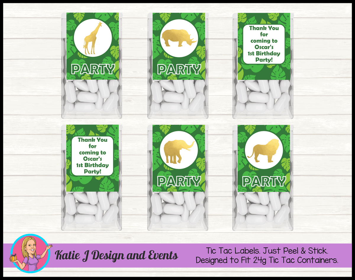 Personalised Gold Foil Jungle Animals Tic Tac Mint labels