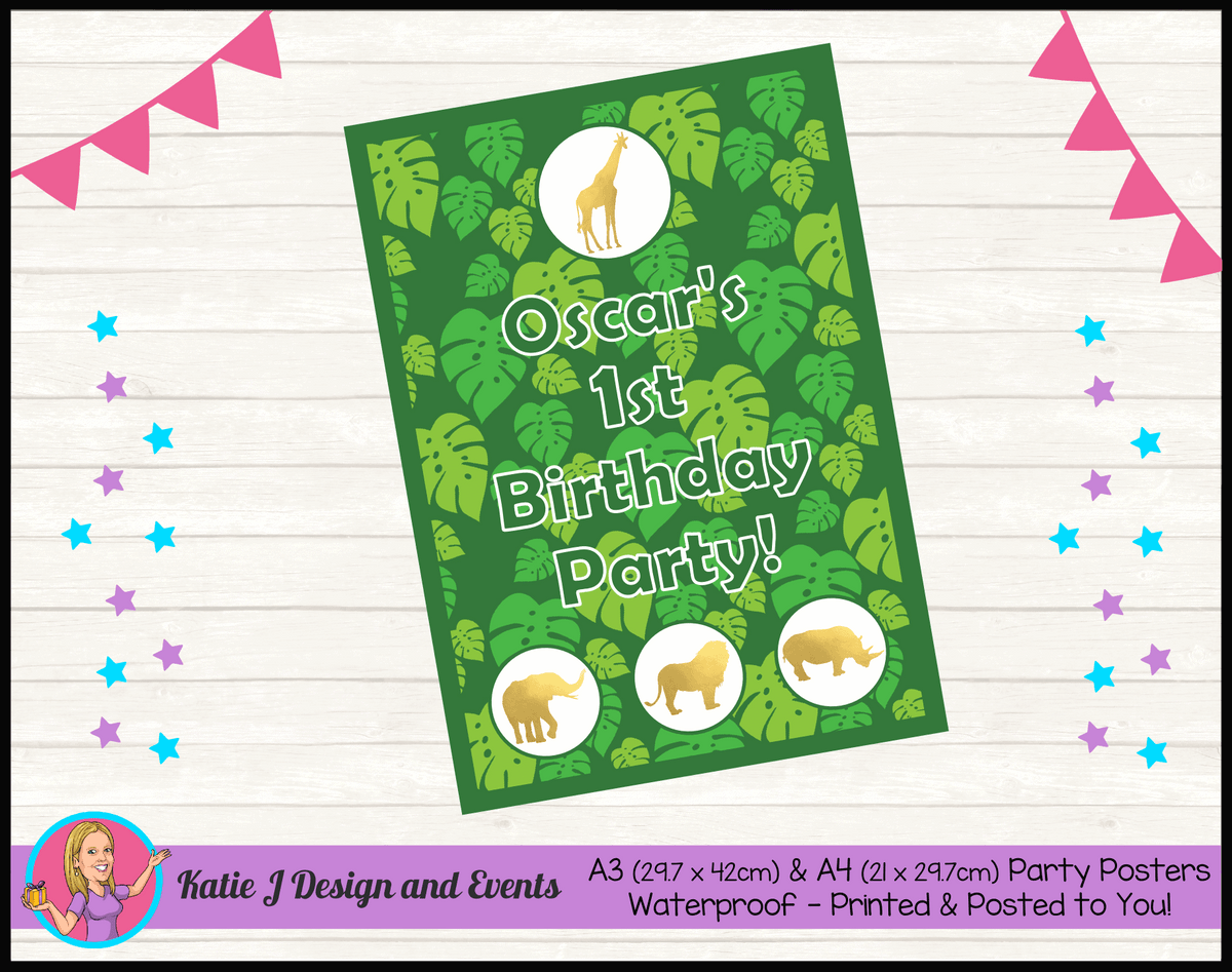 Personalised Gold Foil Jungle Animals Birthday Party Poster