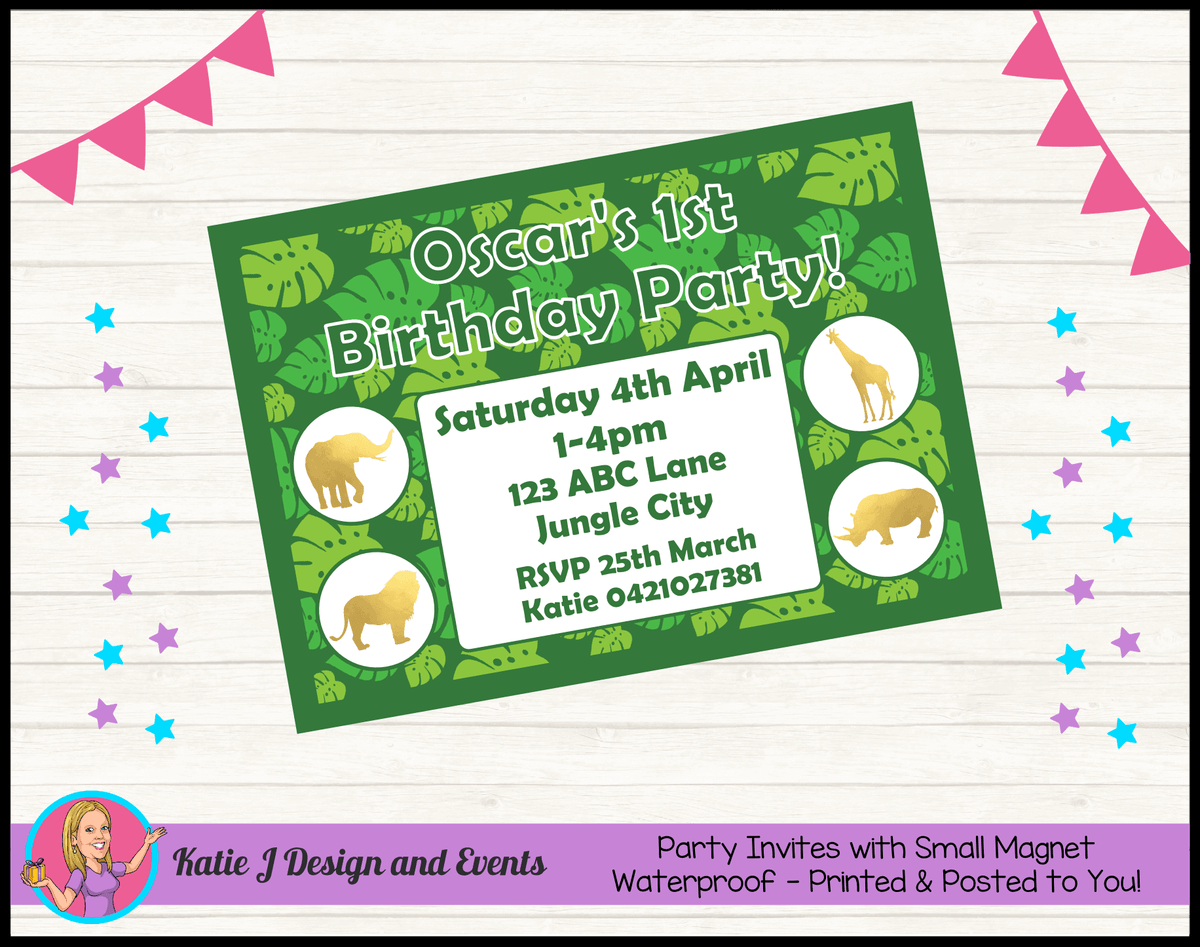 Personalised Gold Foil Jungle Animals Party Invites Invitations