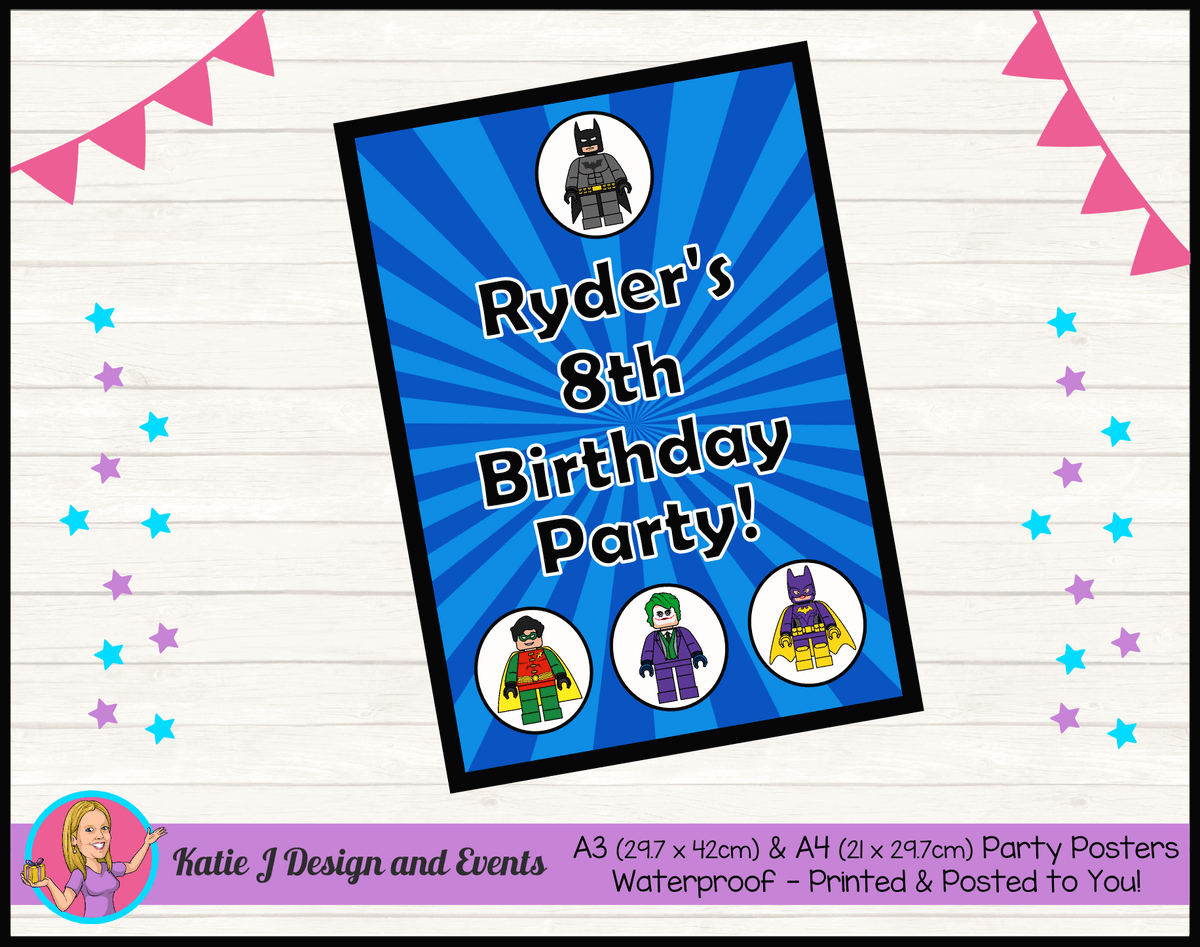 Personalised Lego Batman Birthday Party Poster