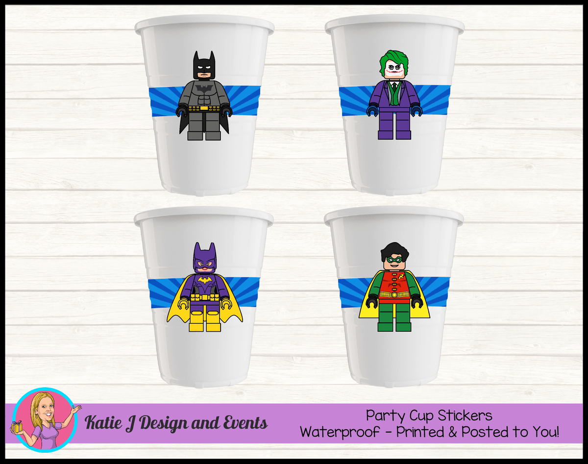 Personalised Lego Batman Party Cup Stickers Cups