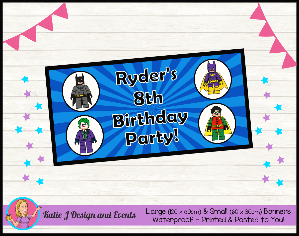 Personalised Lego Batman Birthday Party Banner