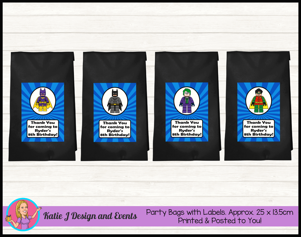 Personalised Lego Batman Birthday Party Loot Bags