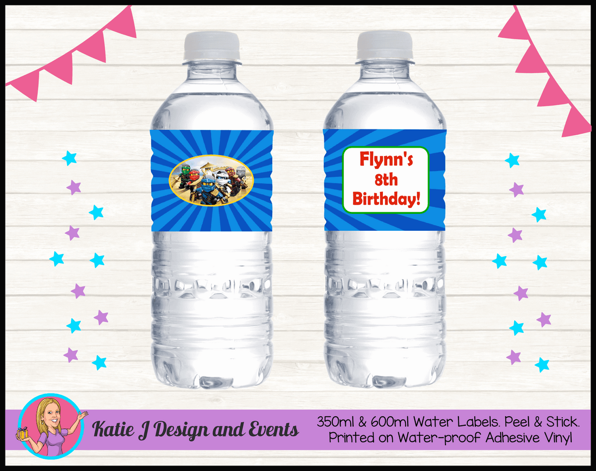 Personalised Lego Ninjago Party Water Labels