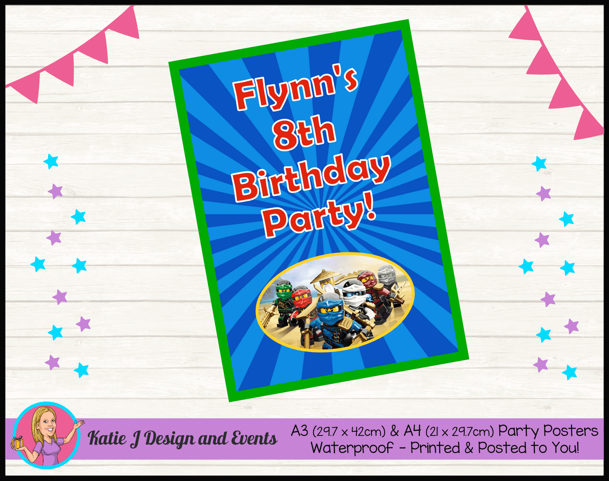 Personalised Lego Ninjago Birthday Party Poster