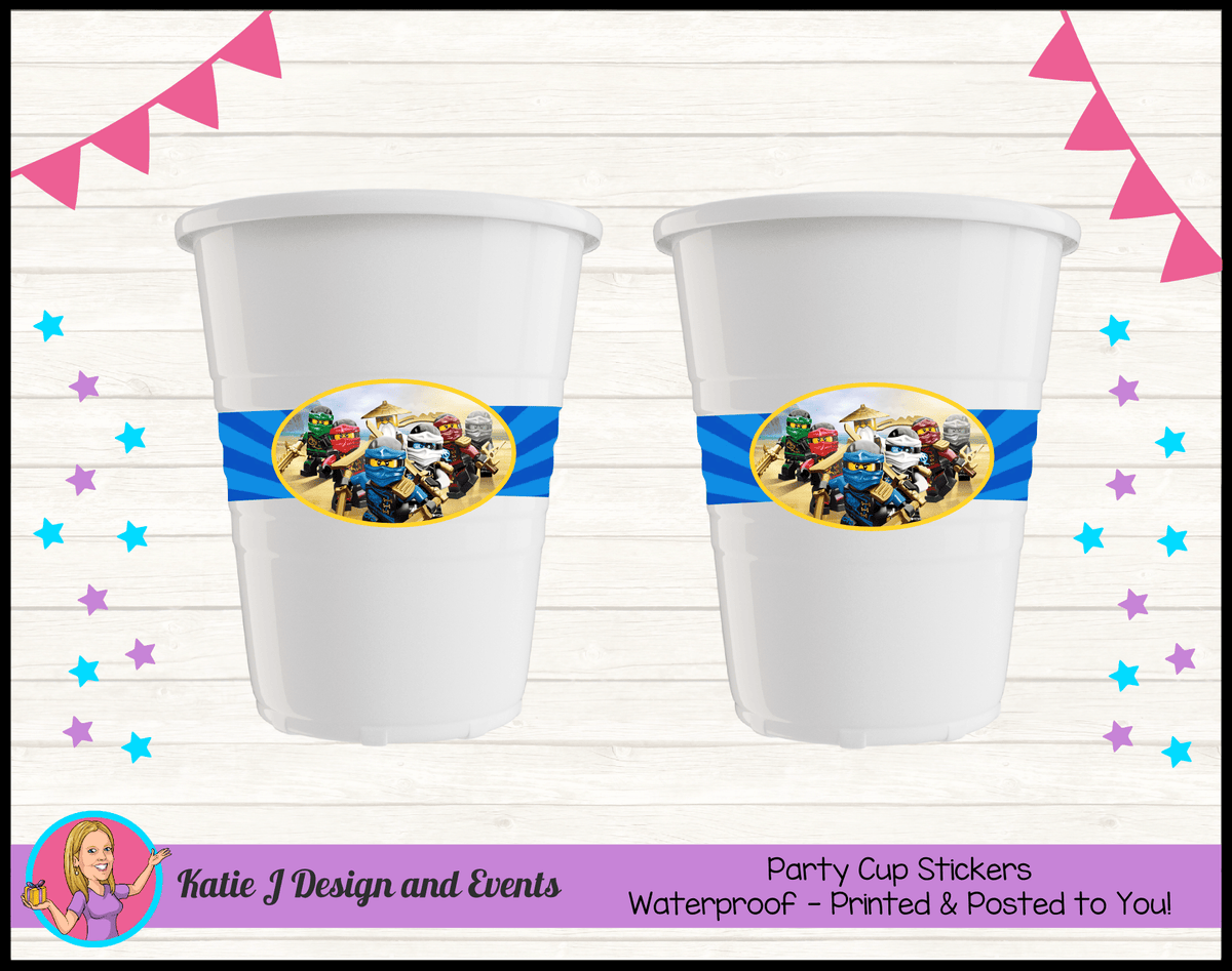 Personalised Lego Ninjago Party Cup Stickers Cups