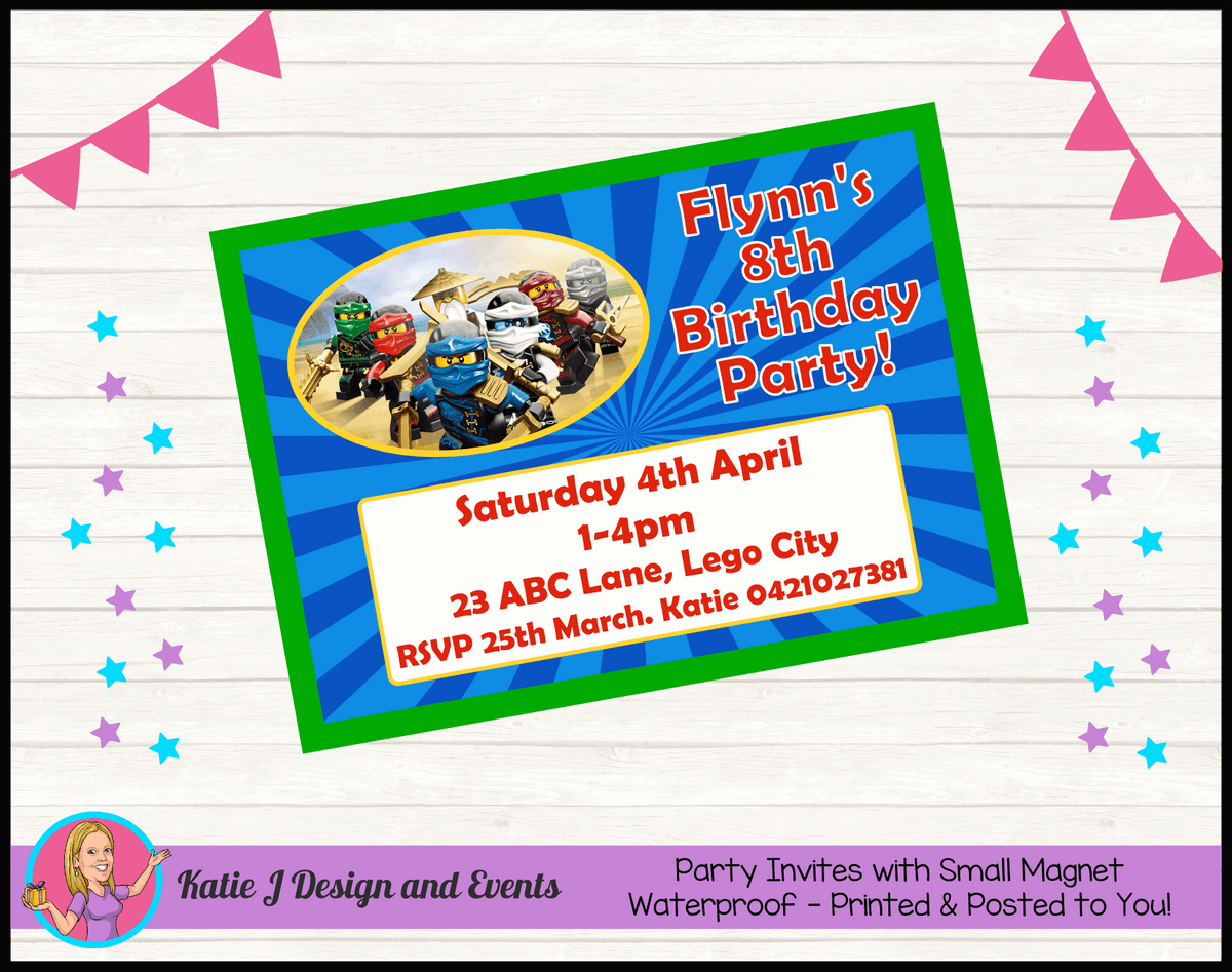 Personalised Lego Ninjago Birthday Party Invites Invitations