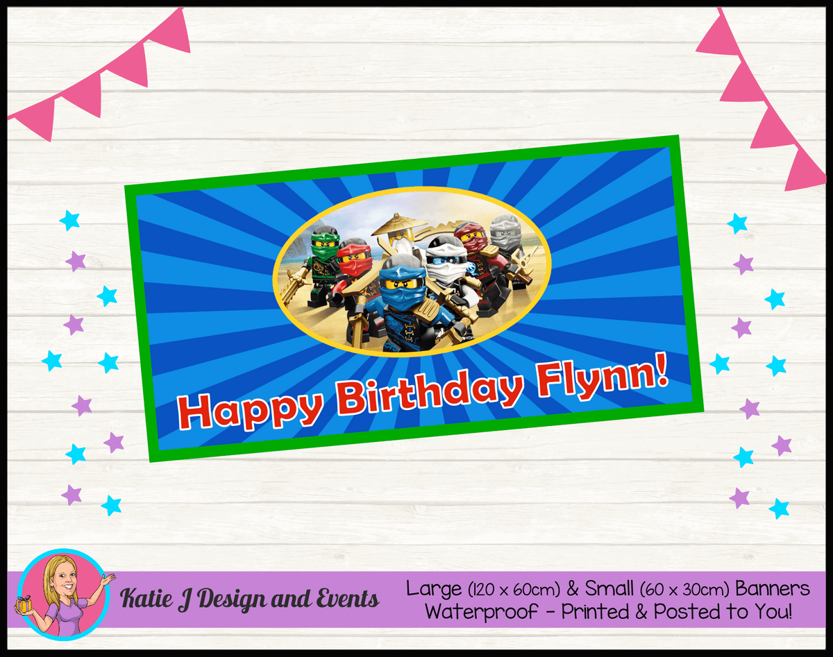 Personalised Lego Ninjago Birthday Party Banner