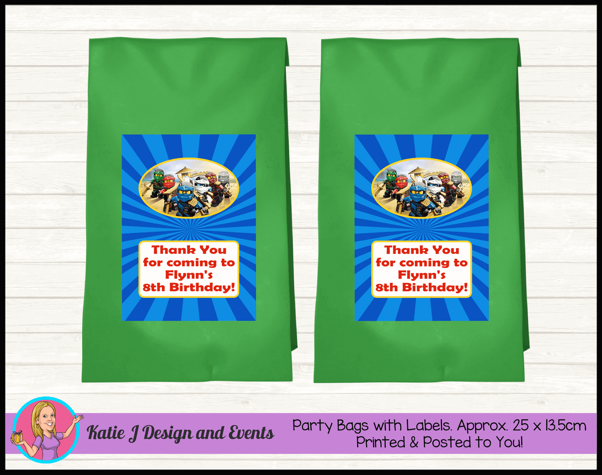 Personalised Lego Ninjago Birthday Party Loot Bags