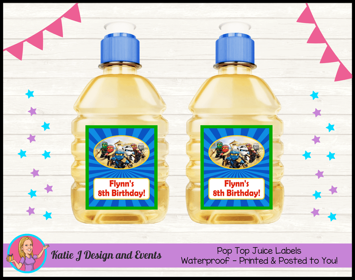 Personalised Lego Ninjago Pop Top Juice Labels