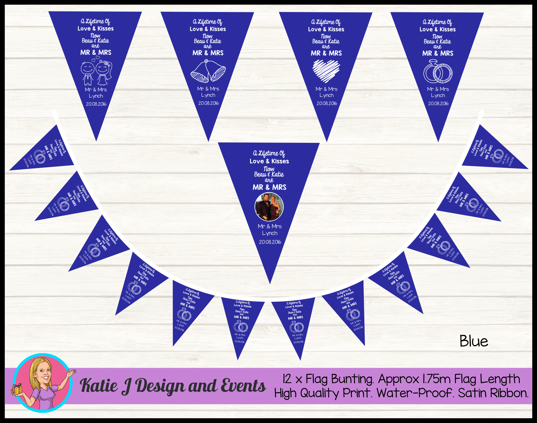 Personalised LIFETIME OF LOVE Wedding Flag Bunting Banners