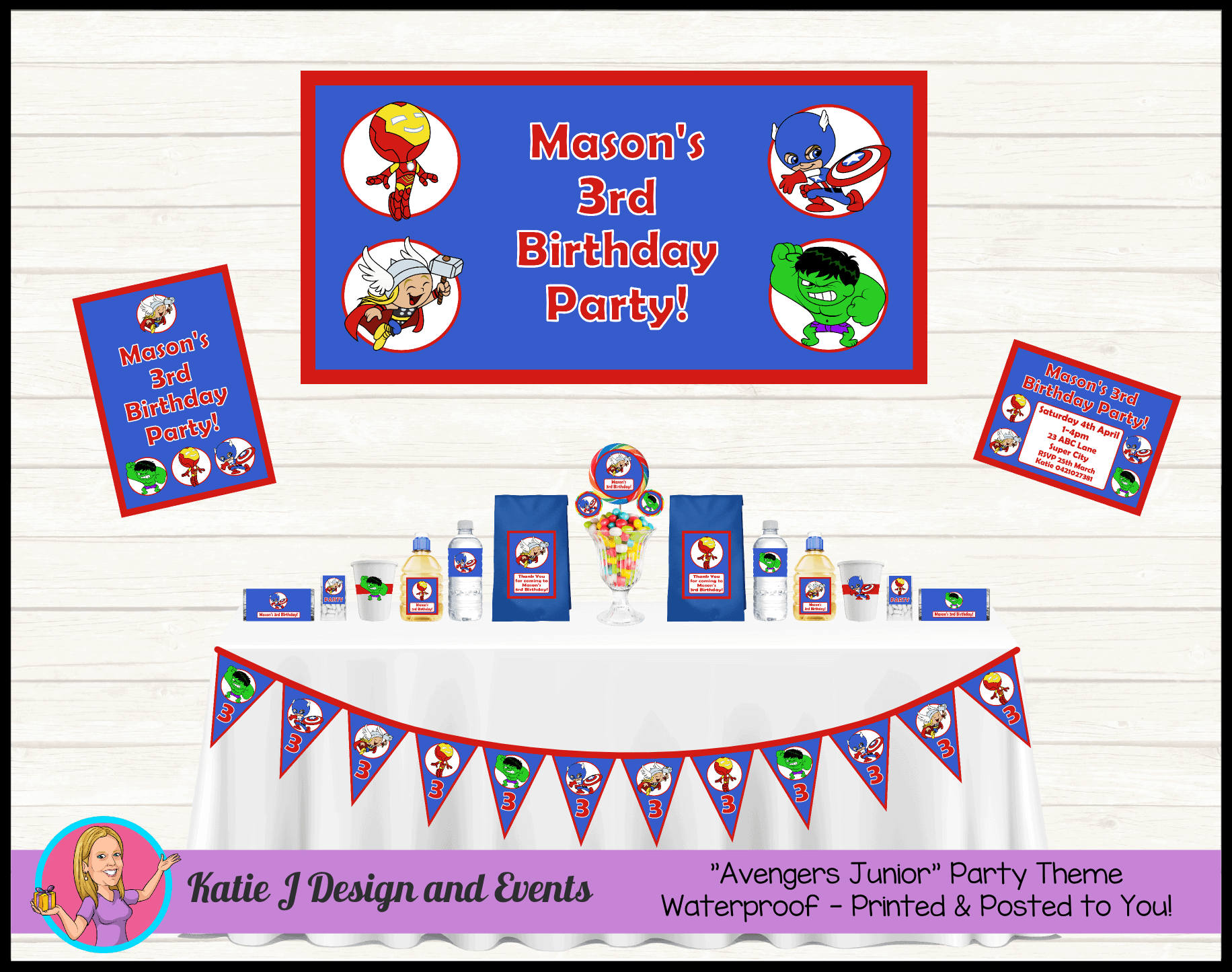 Little Avengers Personalised Party Packs Decorations Supplies