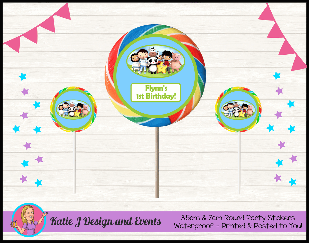 Personalised Little Baby Bum Round Lollipop Stickers