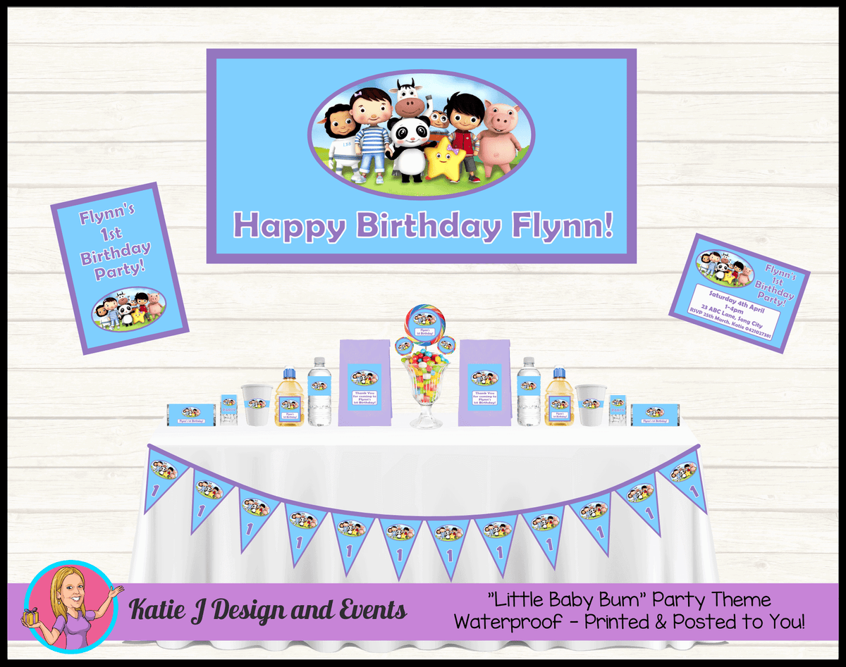 Personalised Girls Little Baby Bum Party Packs Decorations Supplies