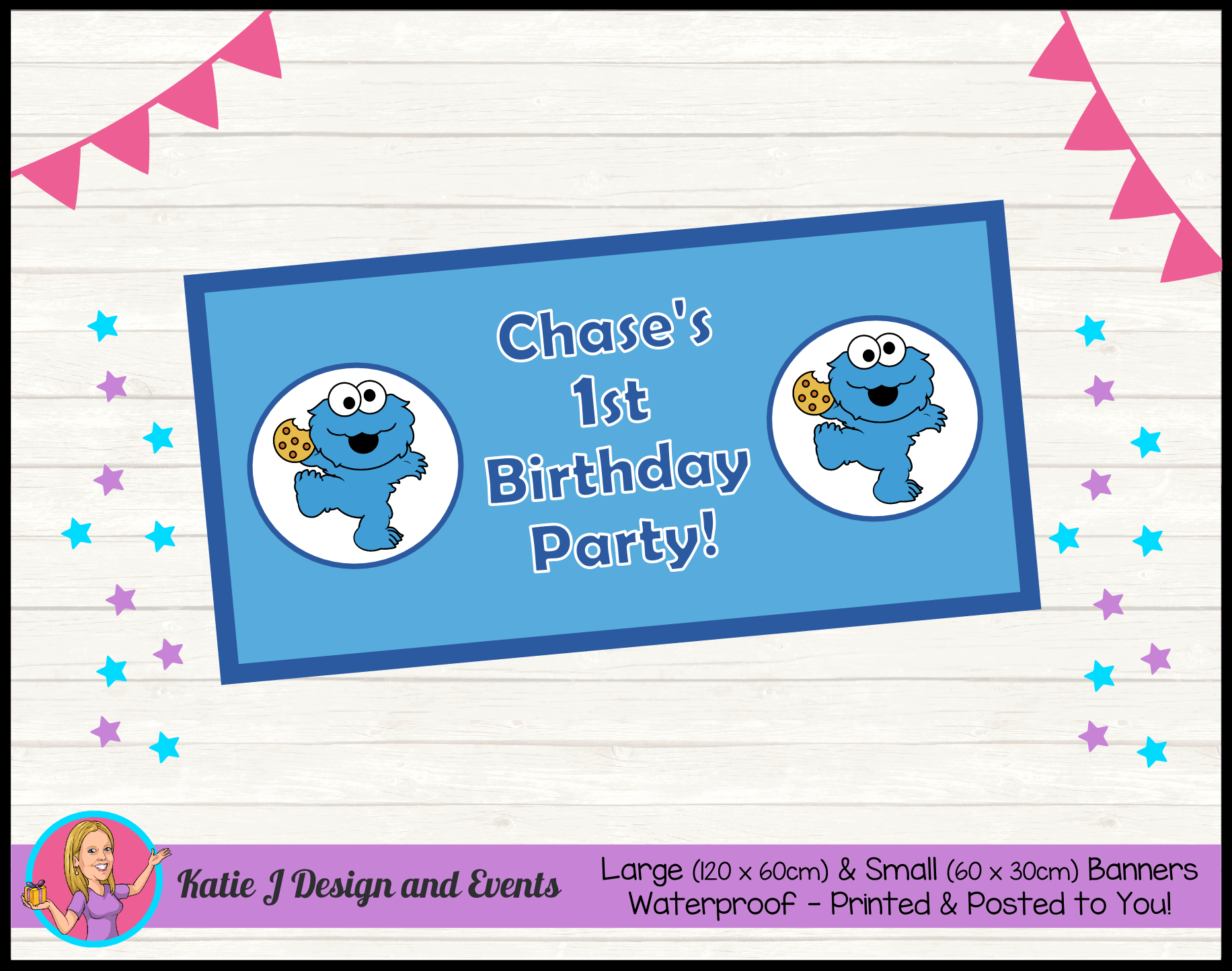 Cookie Monster Personalised Party Packs Decorations Supplies Australia