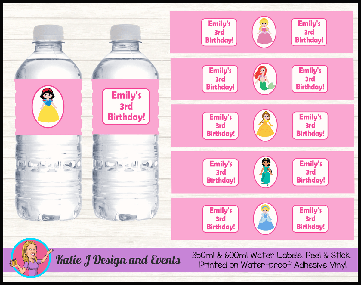 Personalised Little Disney Princess Birthday Party Water Bottle Labels