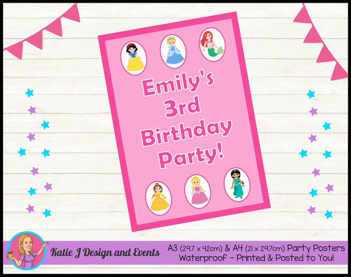 Personalised Little Disney Princess Birthday Party Poster