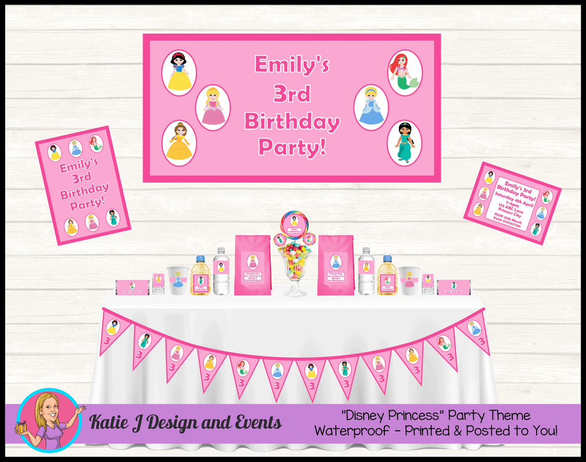 Personalised Little Disney Princess Party Packs Decorations Supplies