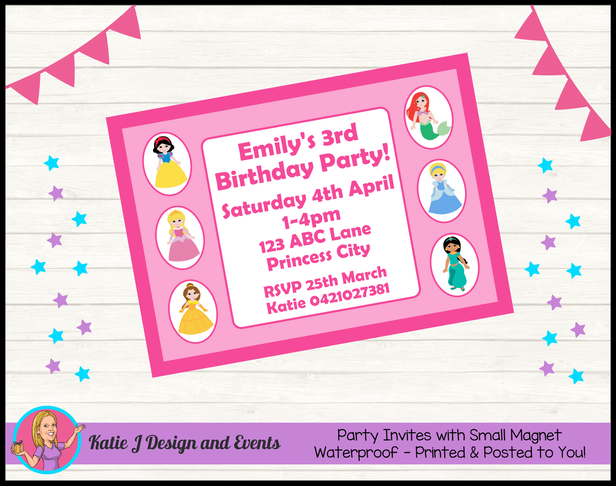 Personalised Little Disney Princess Birthday Party Invites Invitations