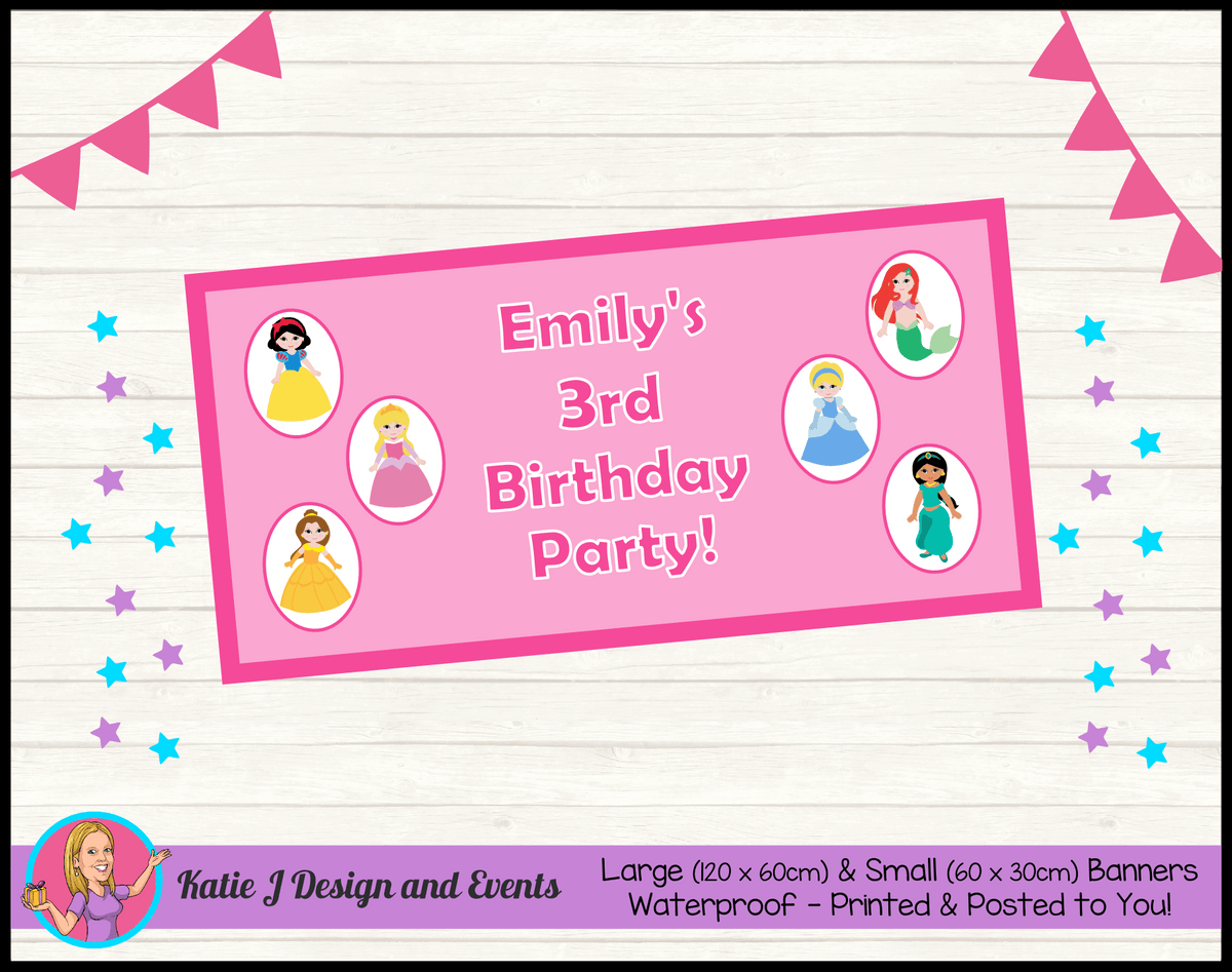 Personalised Little Disney Princess Birthday Party Banners