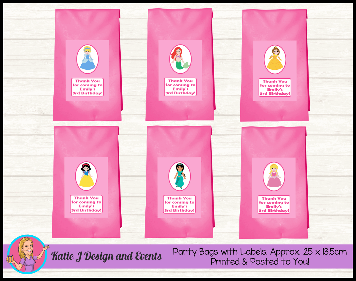Personalised Little Disney Princess Birthday Party Loot Bags