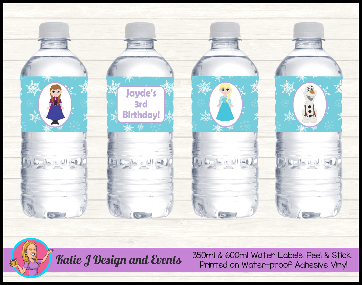 Personalised Little Frozen Birthday Party Water Bottle Labels