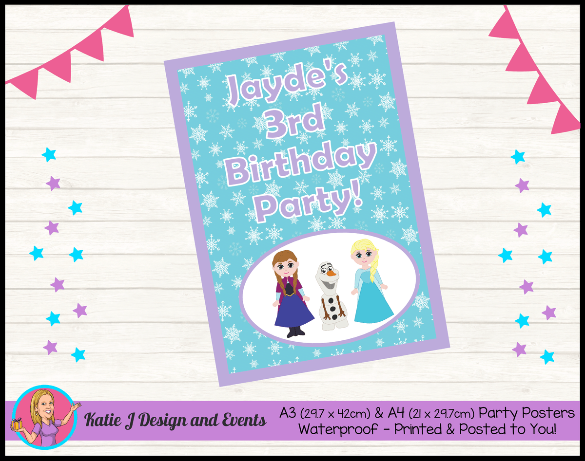 Personalised Little Frozen Birthday Party Poster